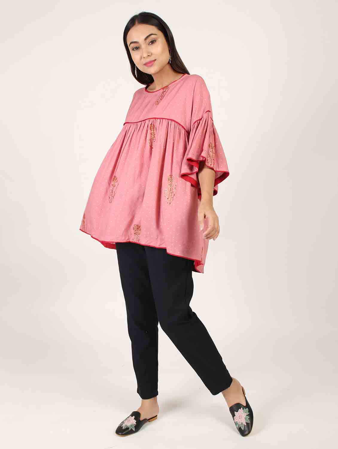 FLARED PINK COLOUR TOP