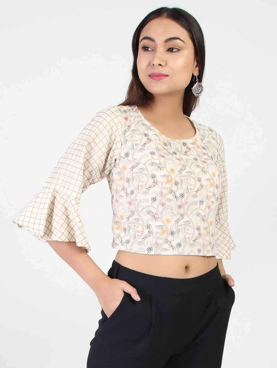 OFF WHITE KANTHA PRINT CROP TOP