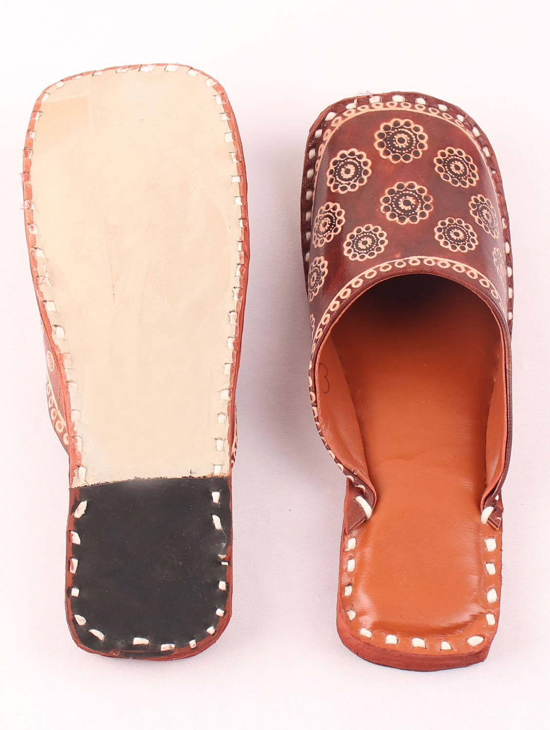 BROWN PRINT SLIDER MULES