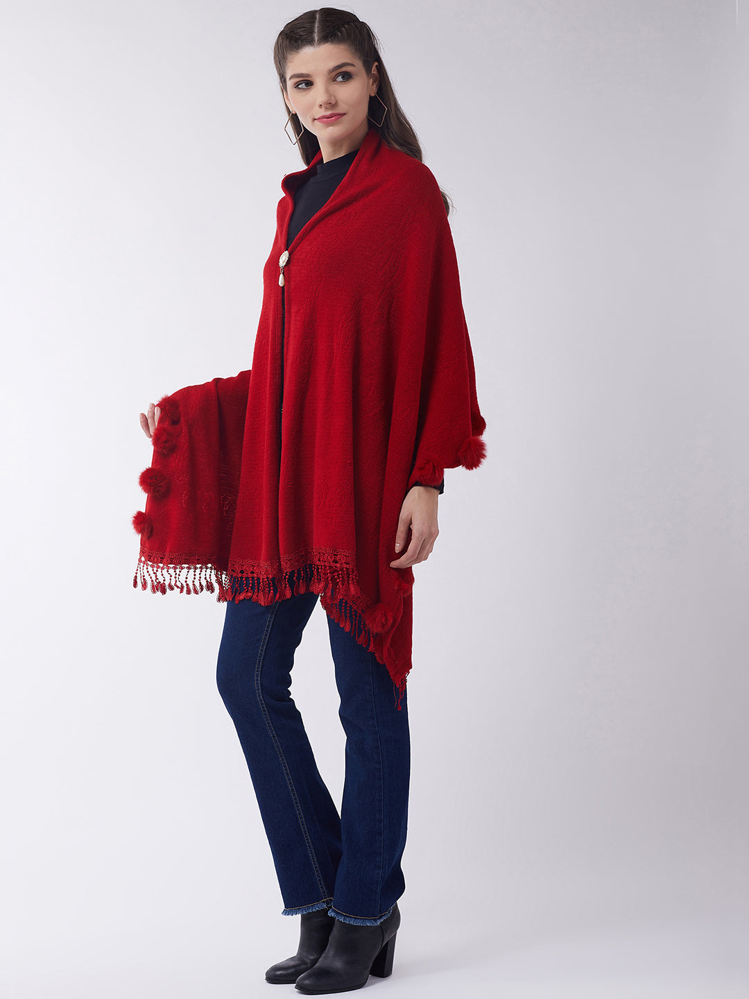 Red Faux Fur Cape