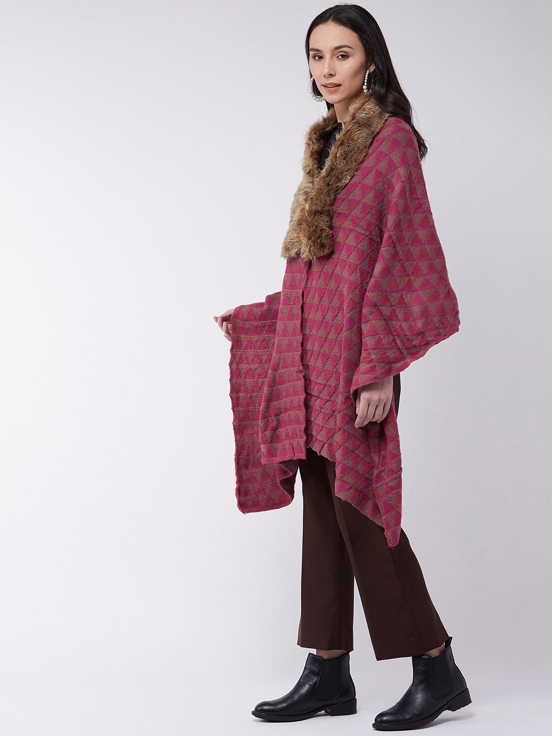 Pink Geometric Faux Fur Cape