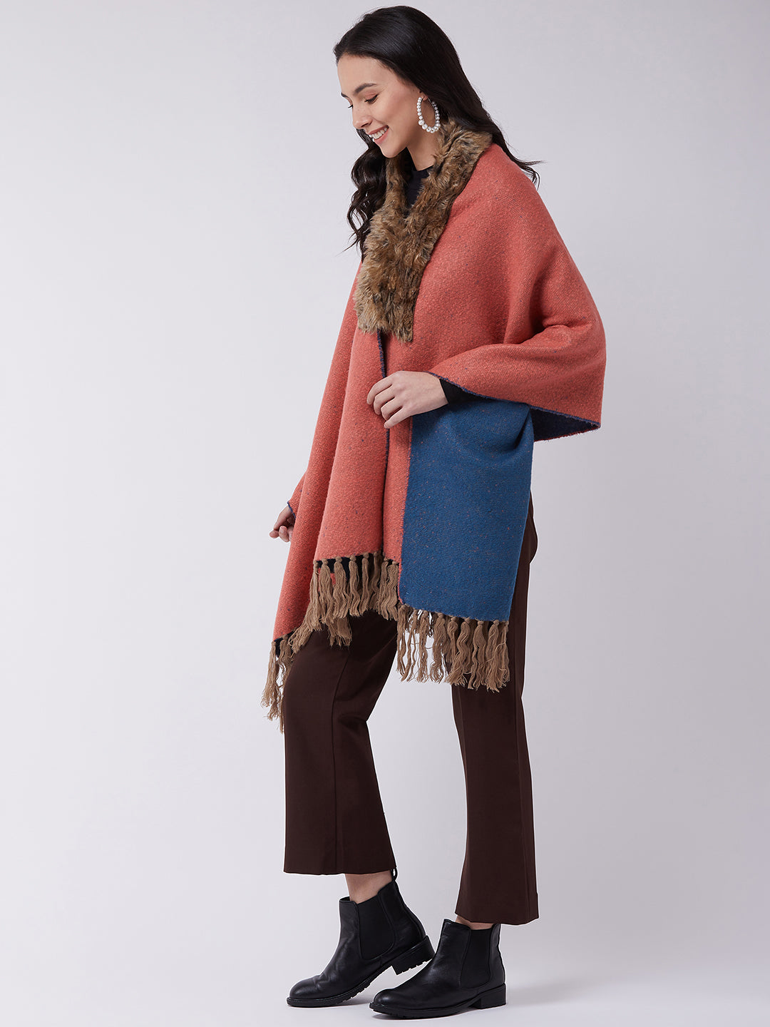 Pink-Blue Winter Cape
