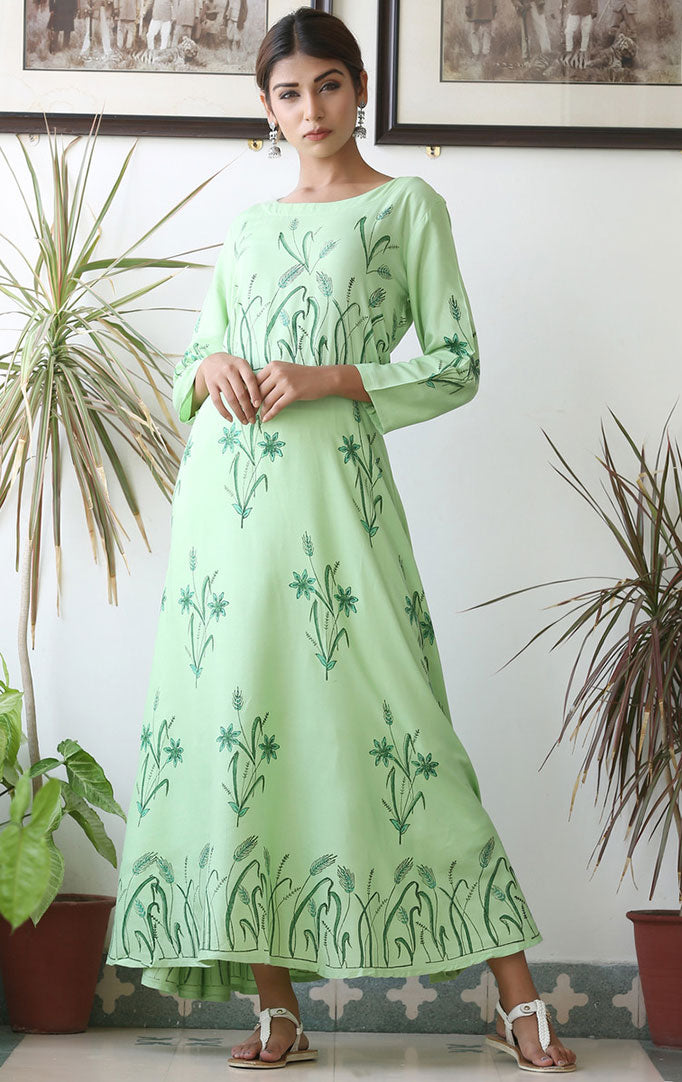 Light Green Anarkali Dress with Floral Motifs