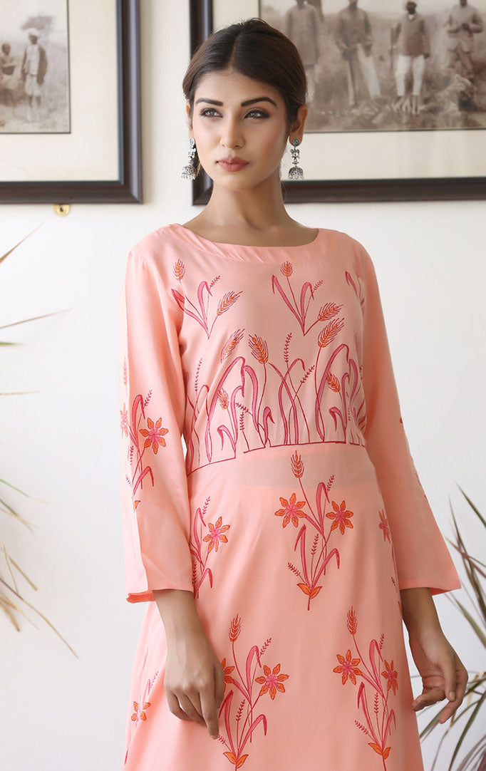 Light Pink Anarkali Dress with Floral Motifs