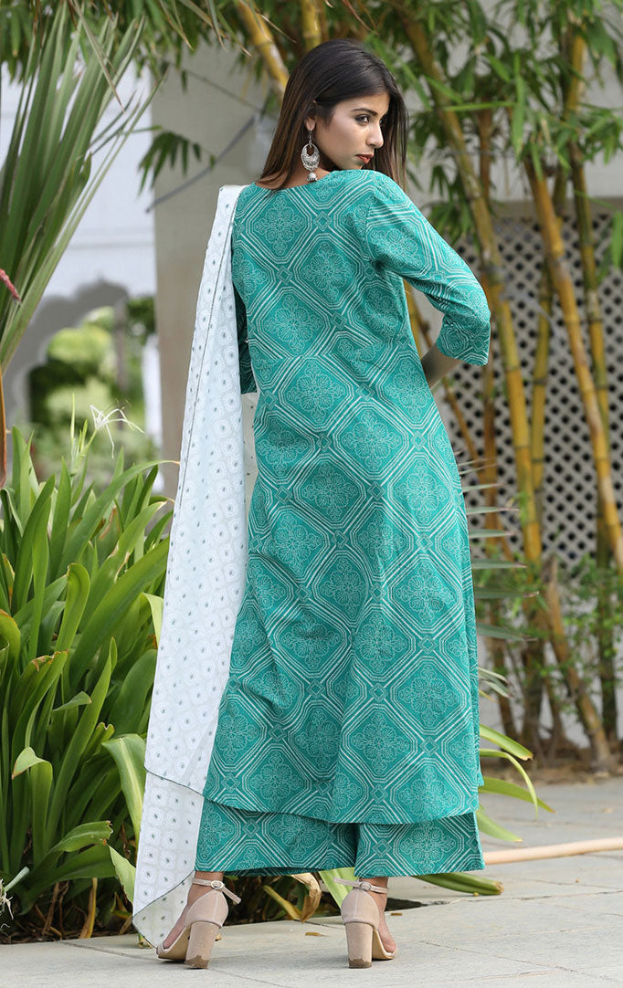 Sea-green Printed Suit Set
