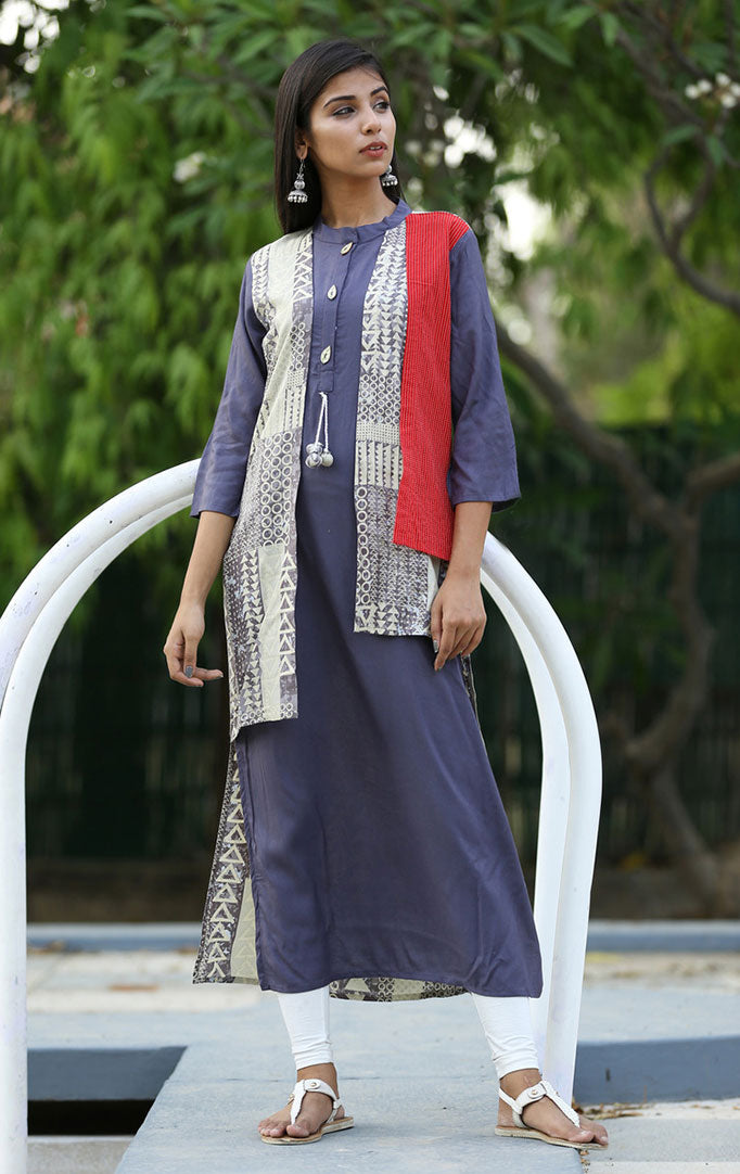 Blue-Off White Kurta with Attached Jacket