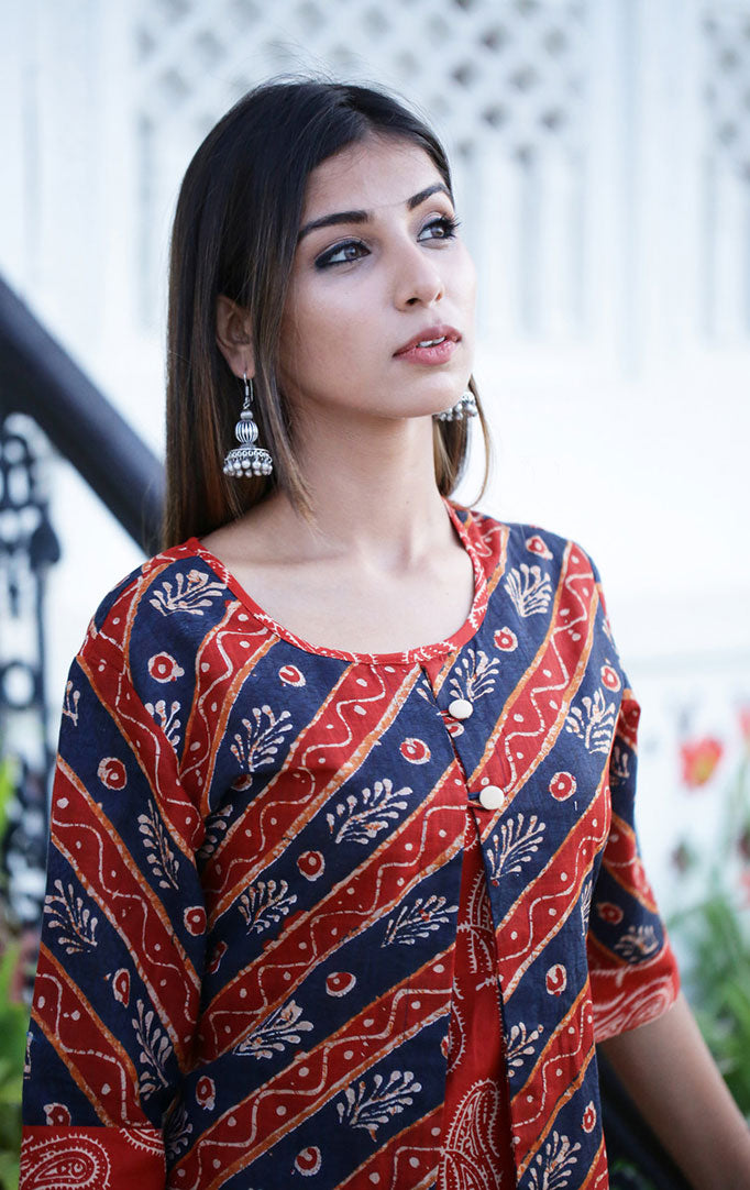 Red Blue Printed Layered Dress