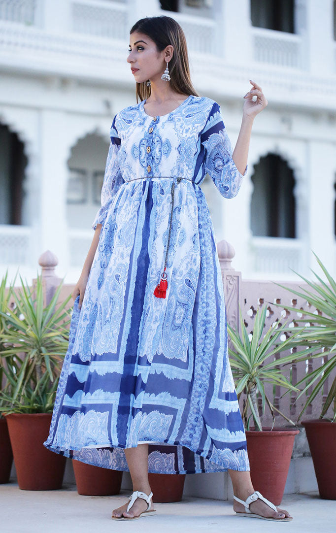 Blue-White Paisley-print Dress