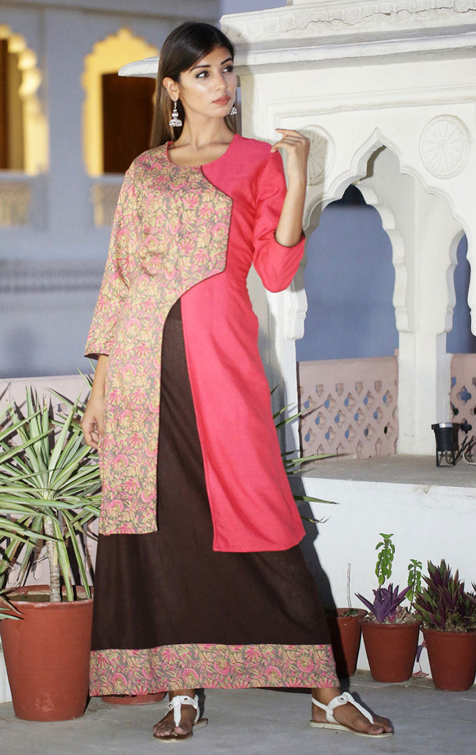 Layered Maxi Dress in Pink & Brown