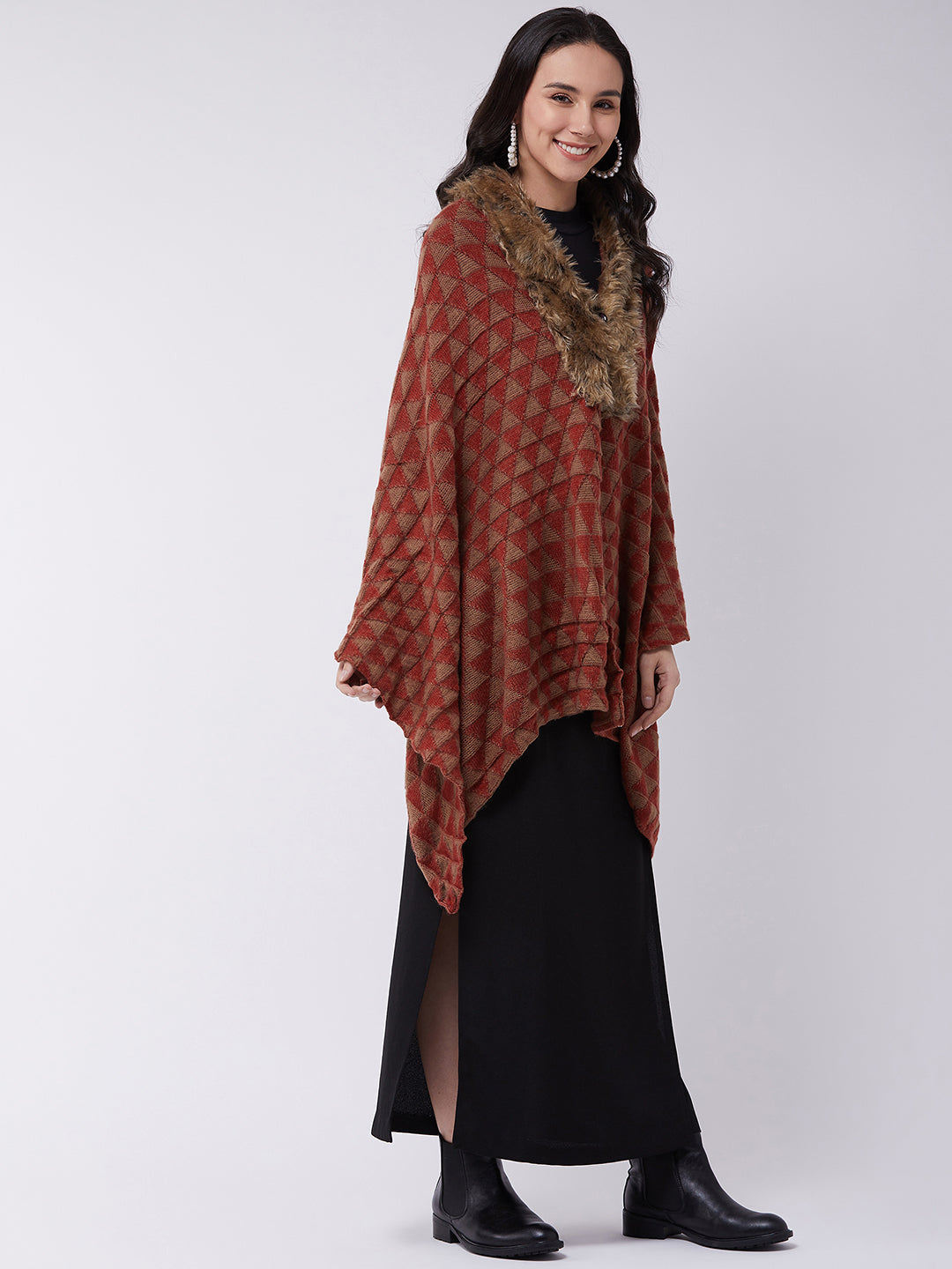 Red Geometric Faux Fur Cape