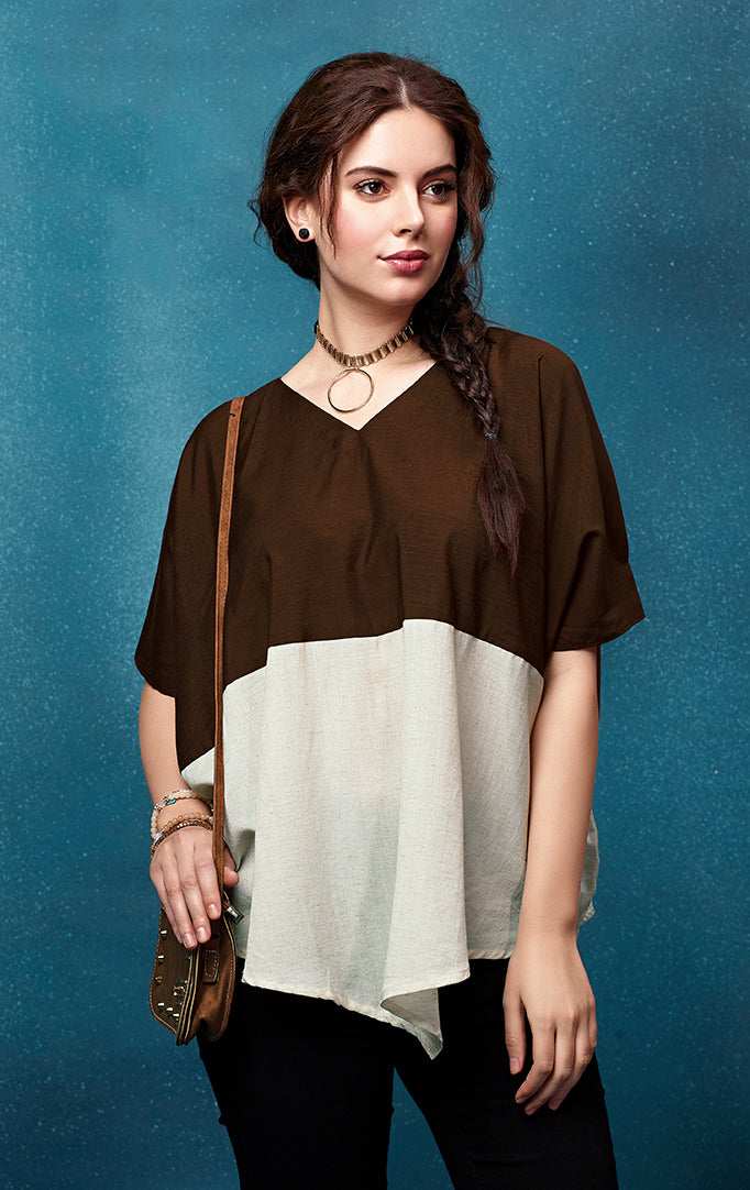 Half-n-half top in brown and ivory