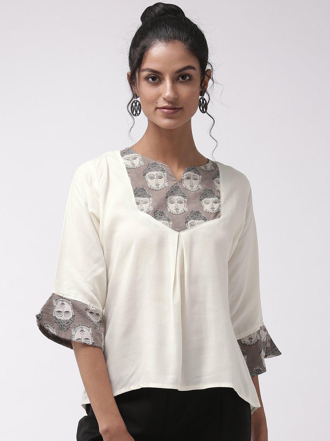 Budha Print Top - Off White