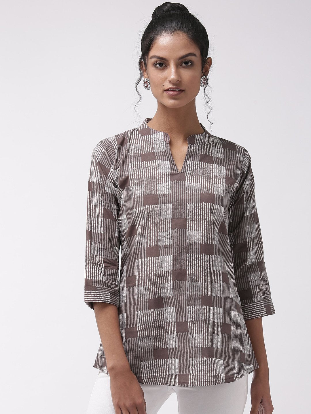 Short Kurta Top Brown