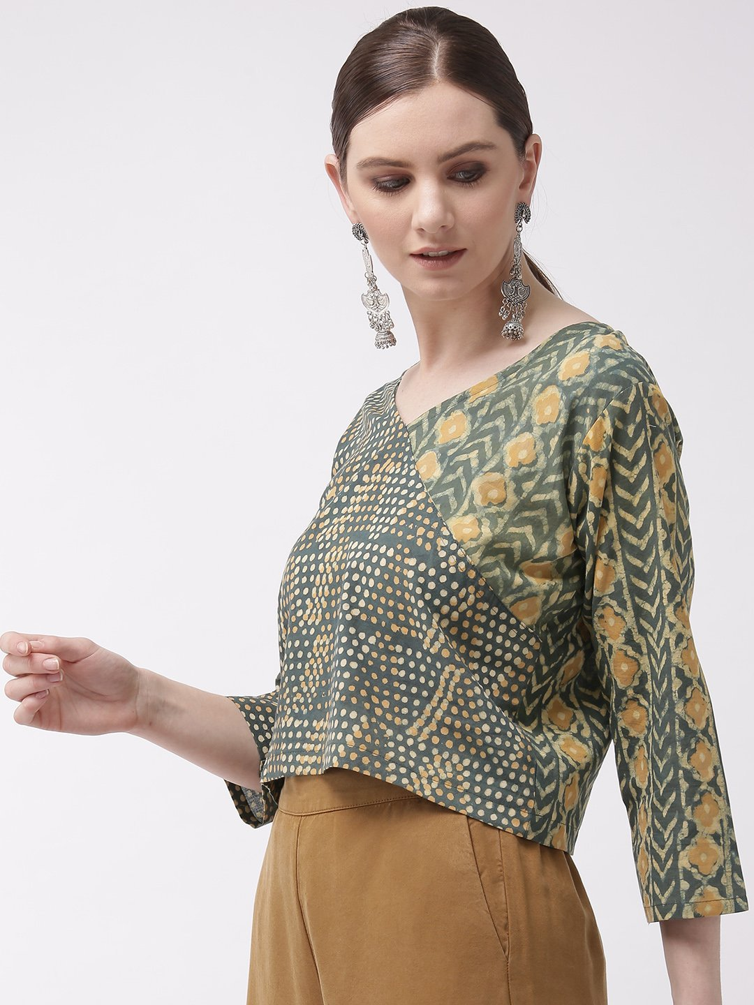 Crop Top Absrtact Print - Green