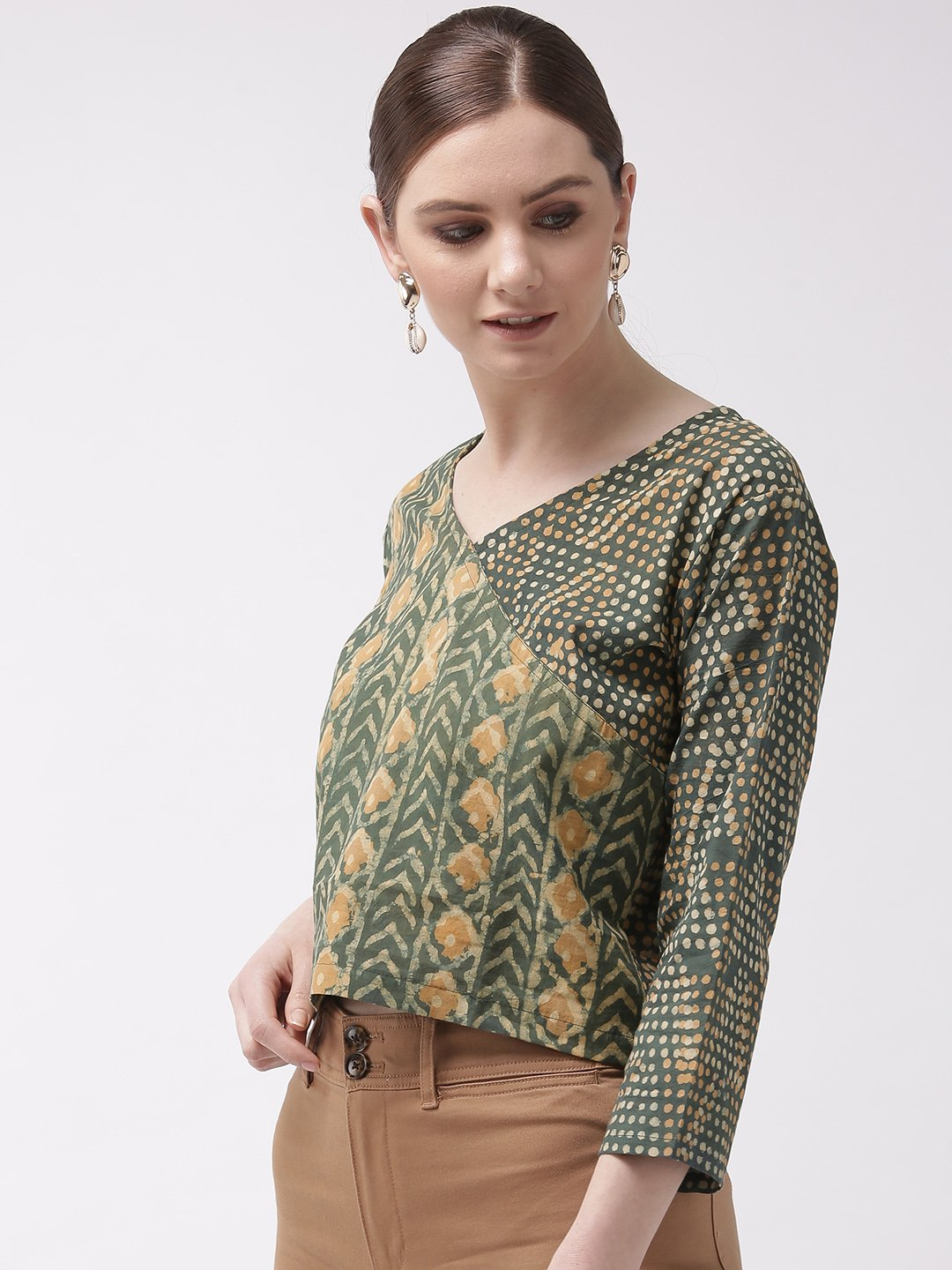 Crop Top Abstract Green & Yellow