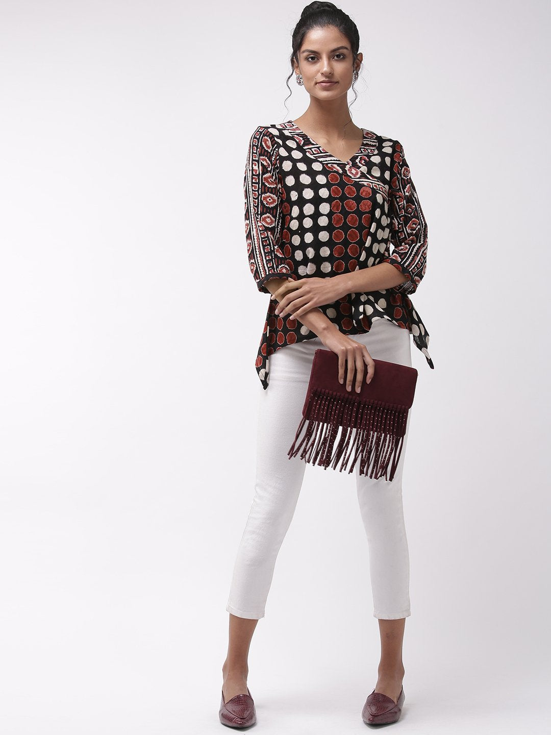 A- Line Top Black & Maroon