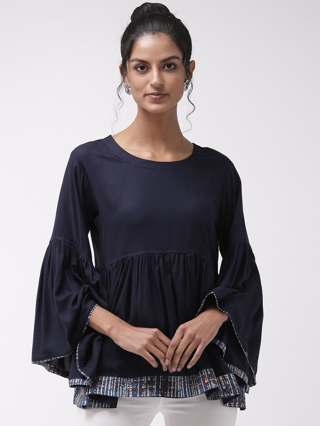 Navy Blue Bell Sleeves Top With Border