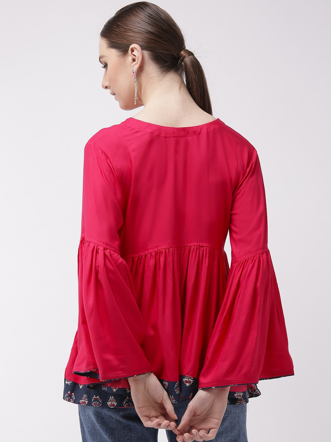 Pink Bell Sleeves Top With Border