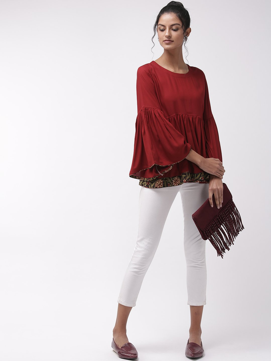 Maroon Bell Sleeves Top With Border