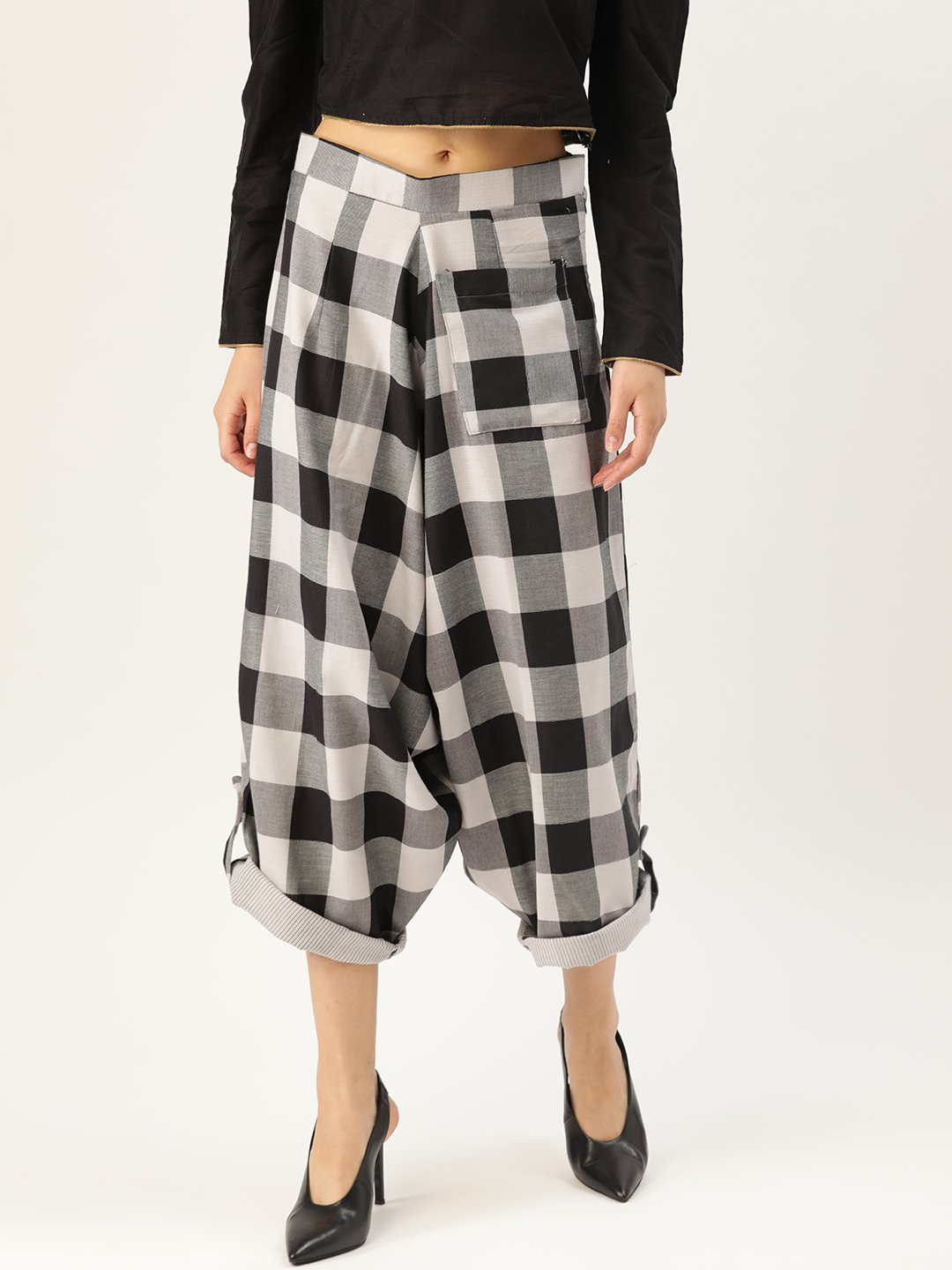 Black Check Harem Pants