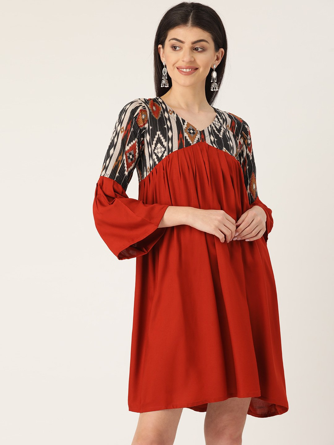 Maroon & Black Ikkat Dress