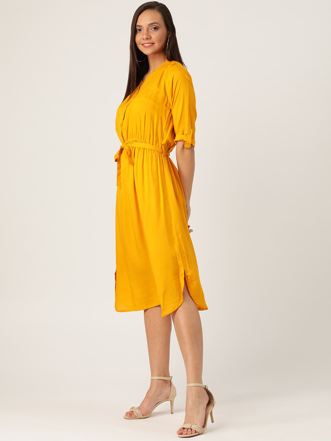 Mustard Dress With Belt