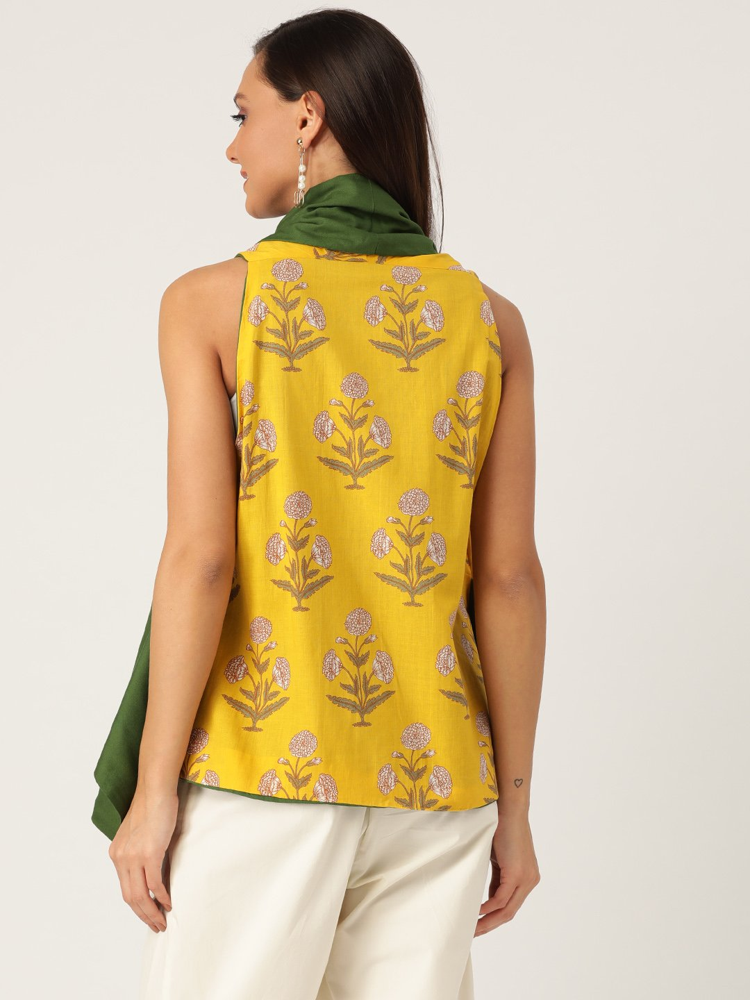 Reversible Shrug Yellow Green Floral