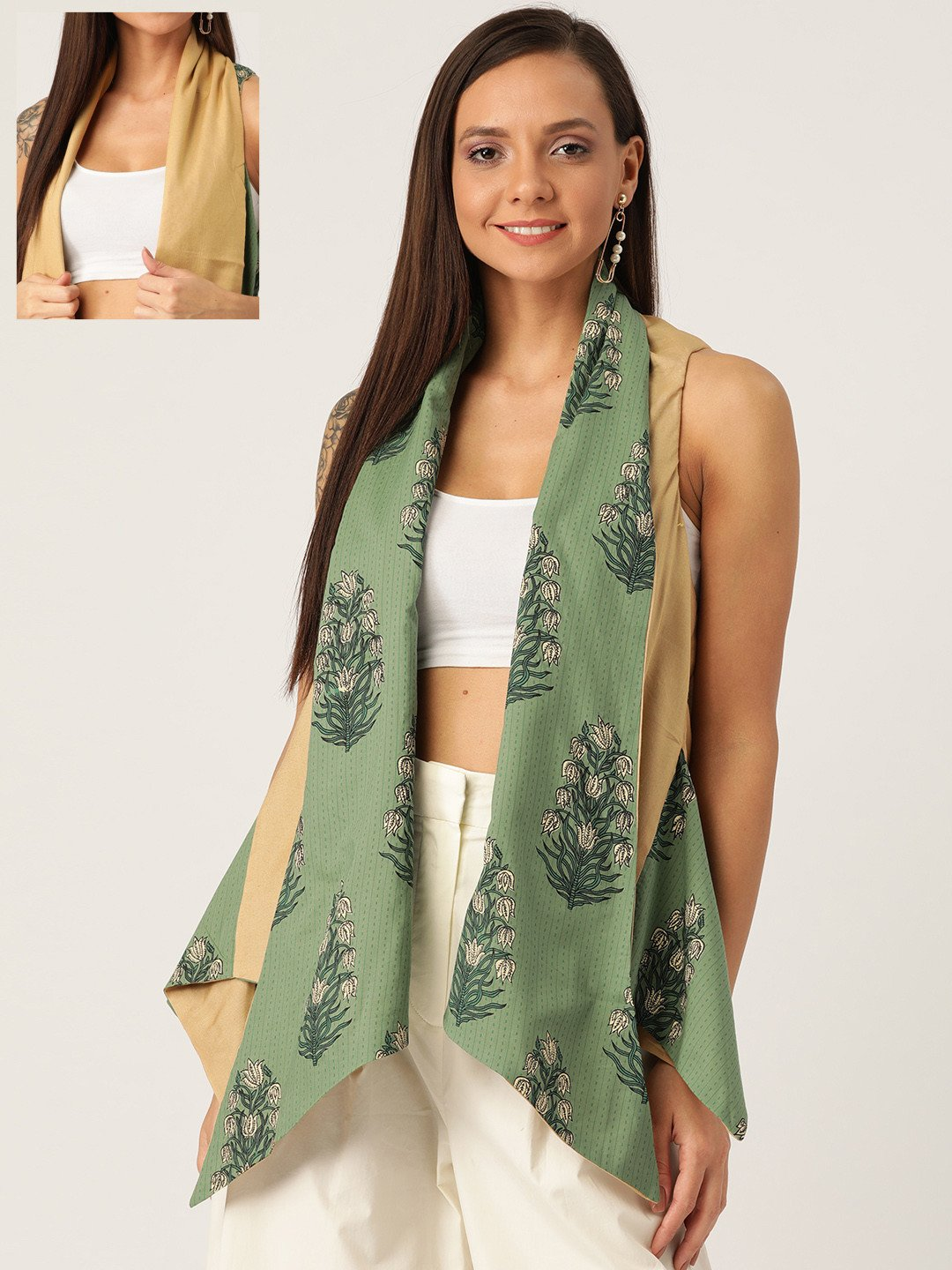 REVERSIBLE SHRUG IN GREEN & BEIGE FLORAL PRINT