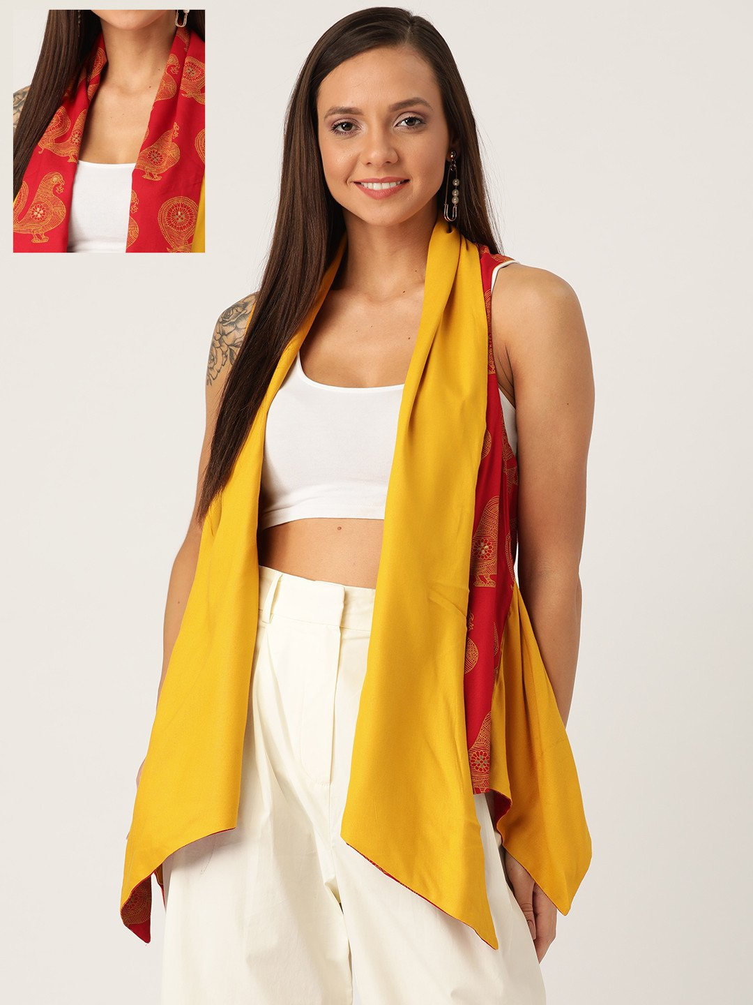 REVERSIBLE SHRUG  BIRD PRINT IN RED &YELLOW