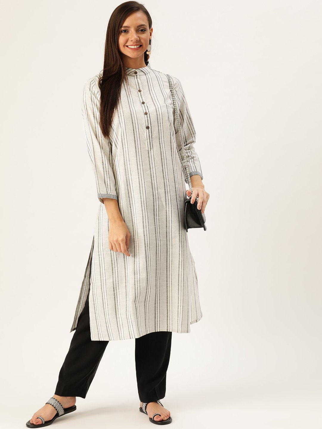Black & Grey striped Handloom kurta