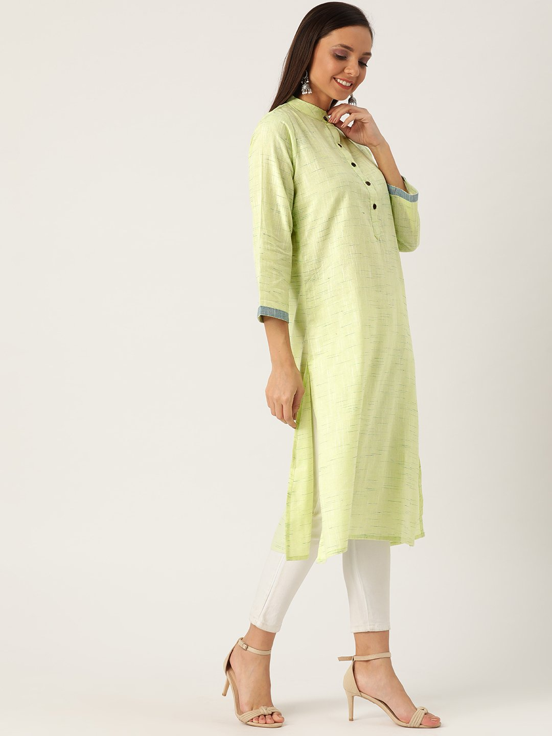 Handloom cotton kurta in green