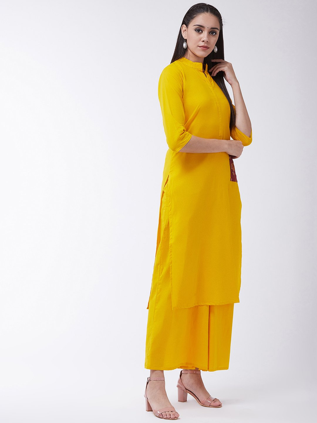 Mustard Kurta With Printed Patch Pocket