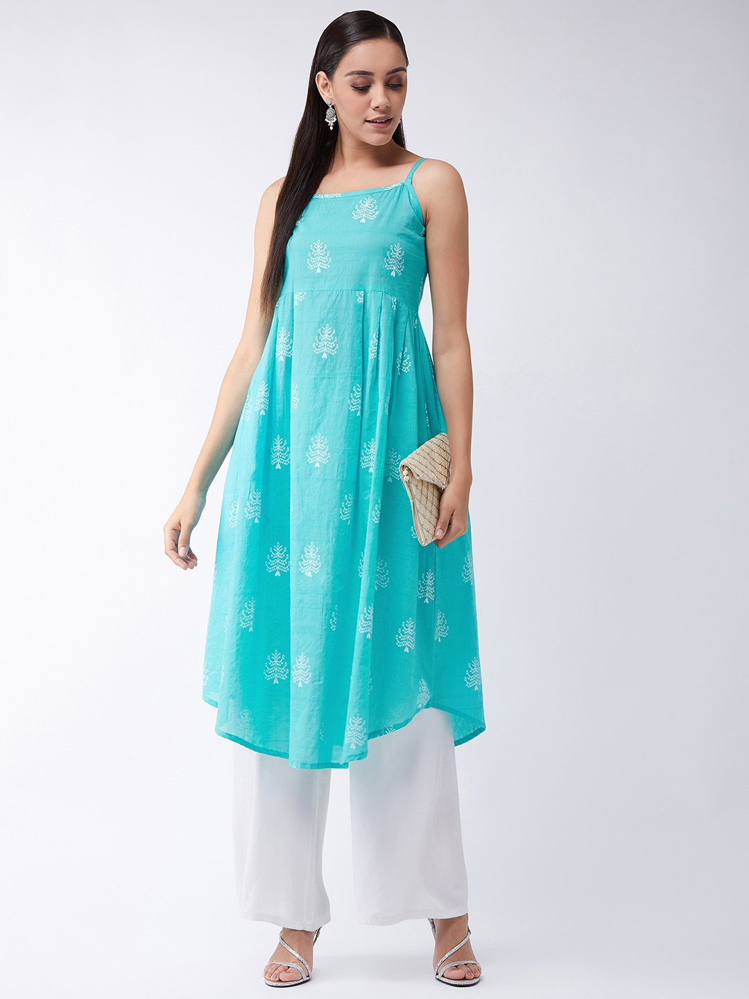 Strappy Kurta In Sea Green