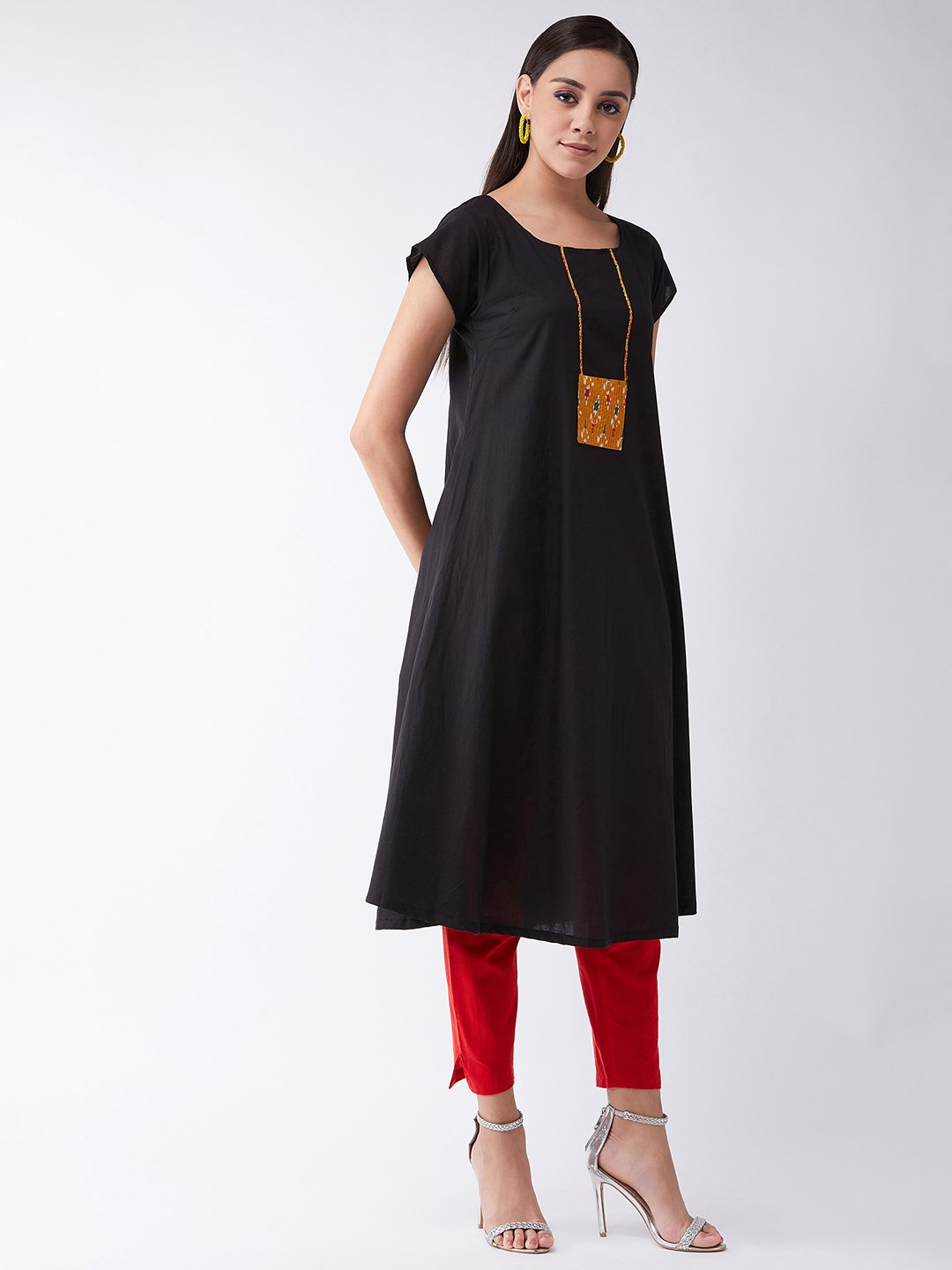 Black Cotton Kurta With Mustard Patch