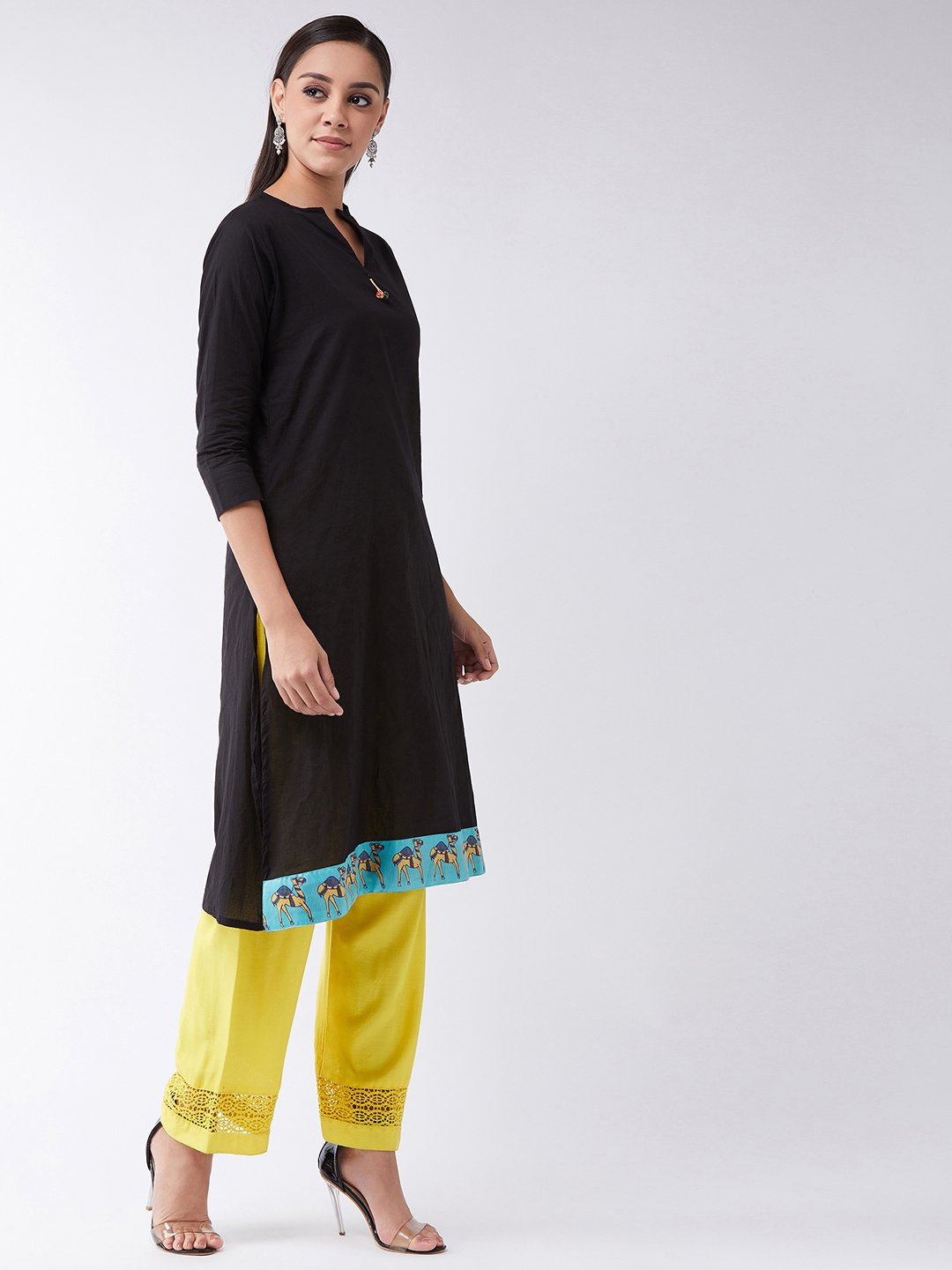 Black Kurta With Camel Border