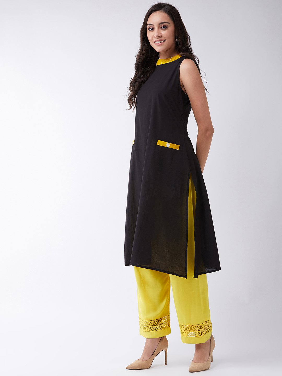 Black Halter Kurta With Yellow Patti