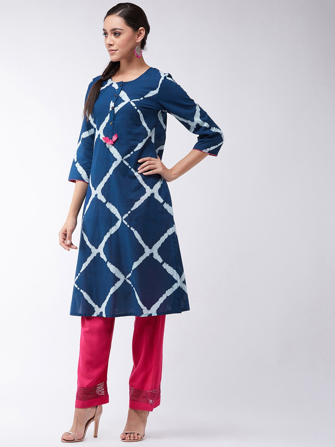 Indigo Blue Kurta With Tassels