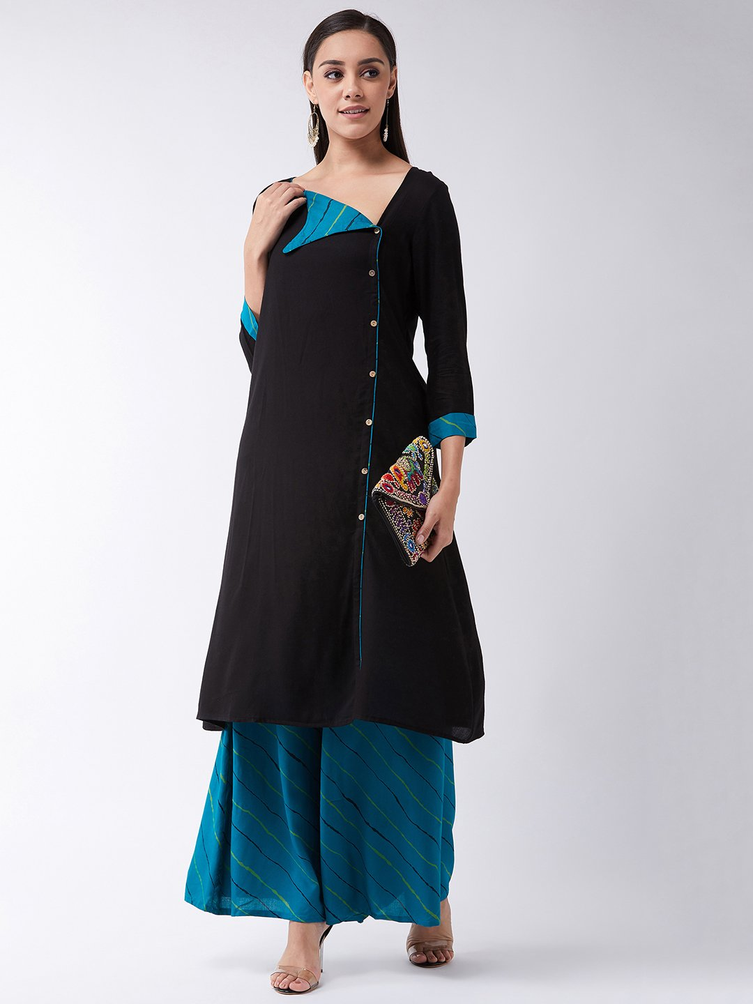 Black Kurta With Elegant Green Collar