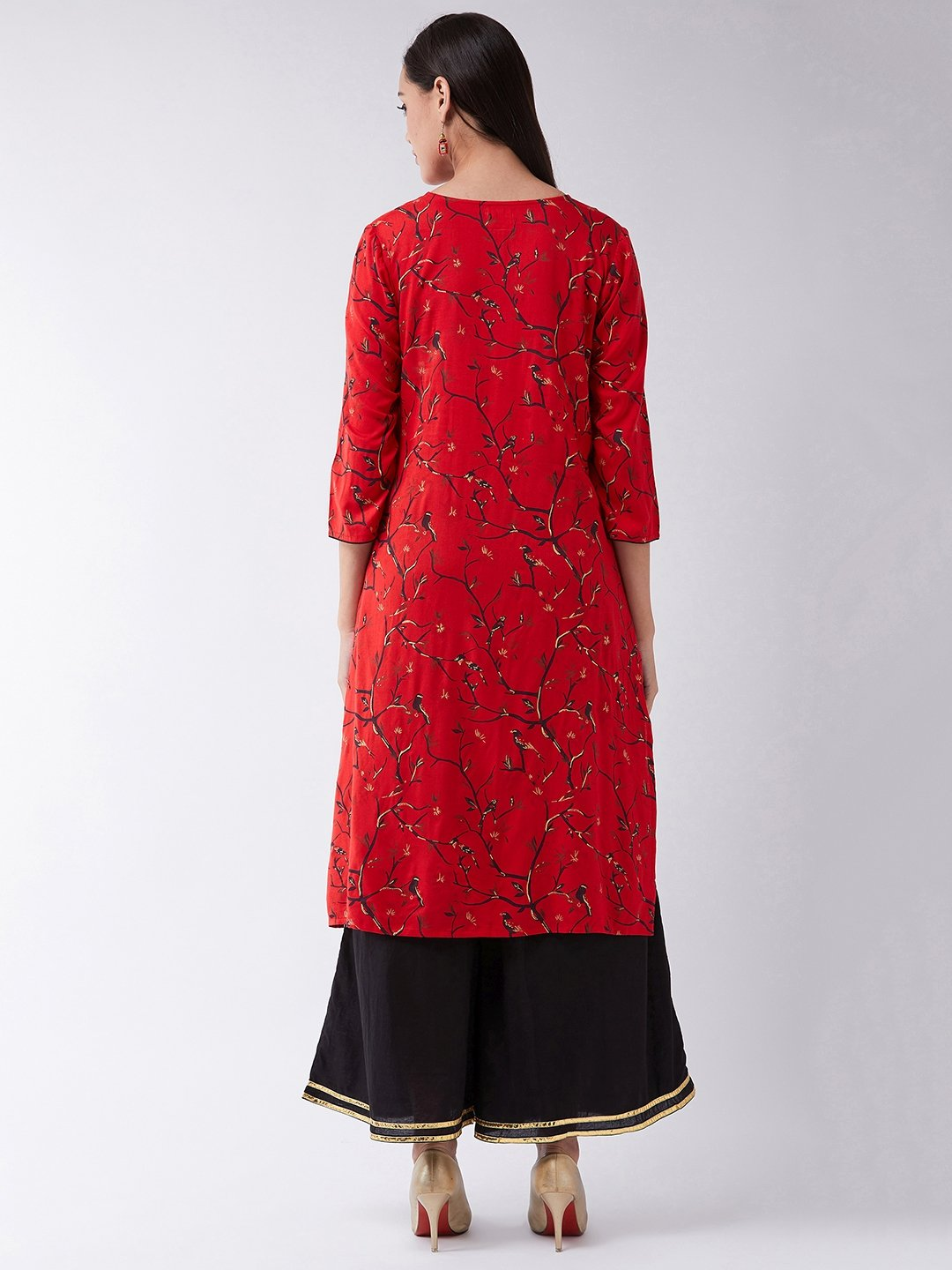Red Gold Print Kurta