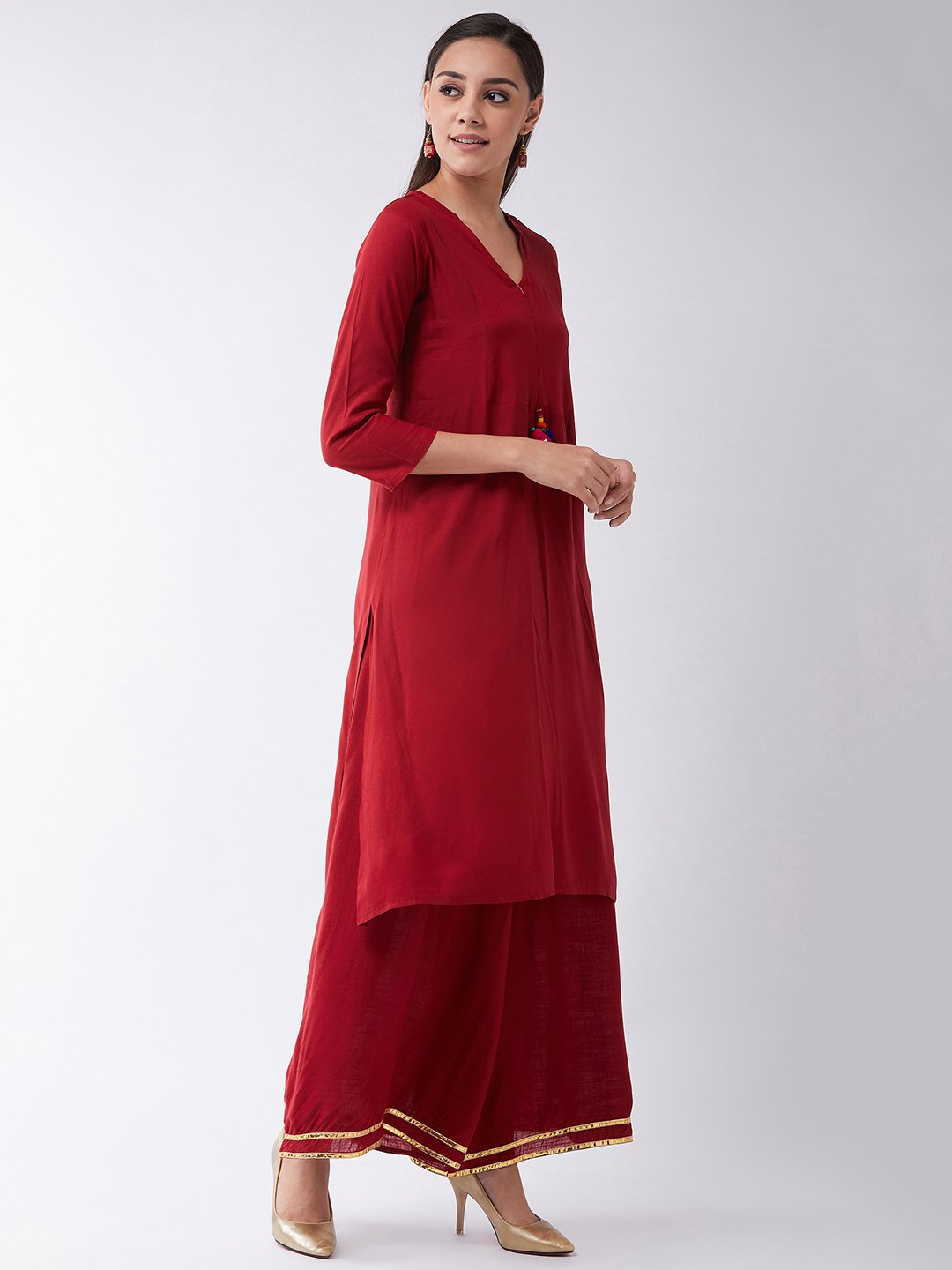 Maroon Kurta With Mirror Tassel
