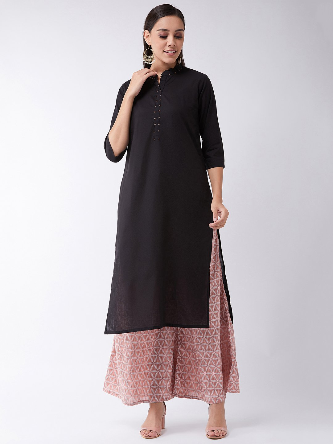 Black Kurta With Sequins Work