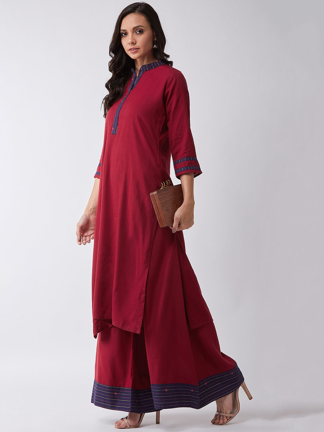 Maroon Kurta With Blue Patti