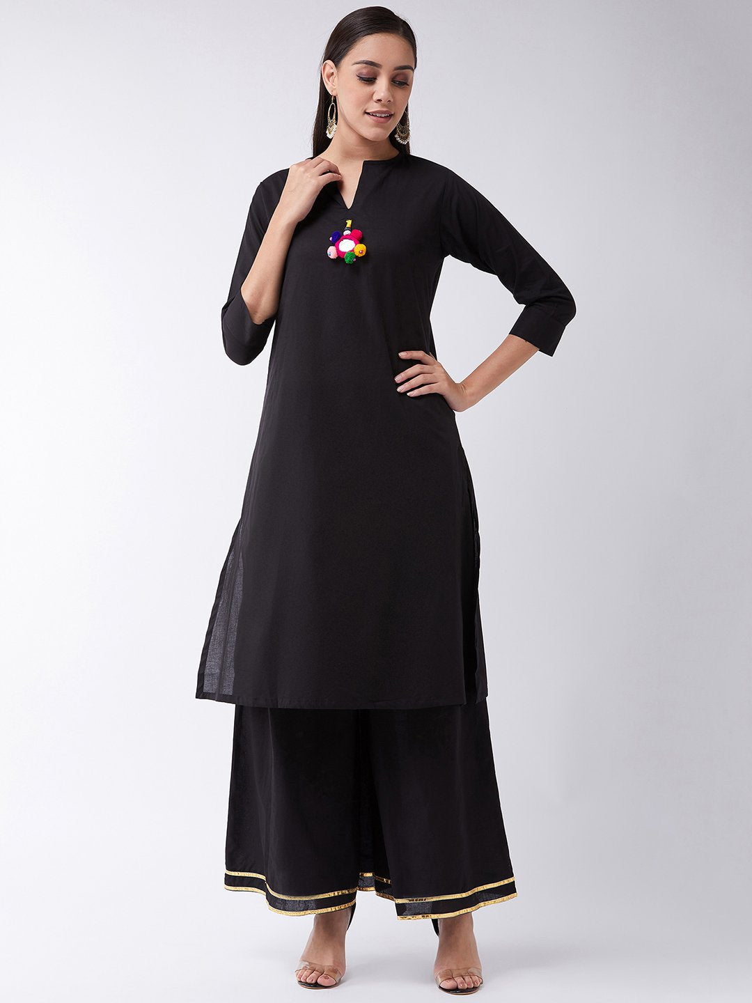 Black Kurta With Mirror Work Tassel