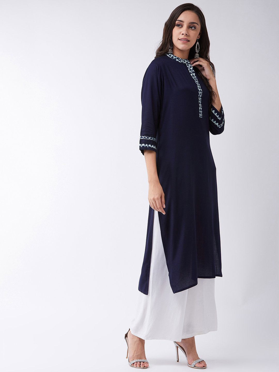 Navy Blue Kurta With Kantha Patti