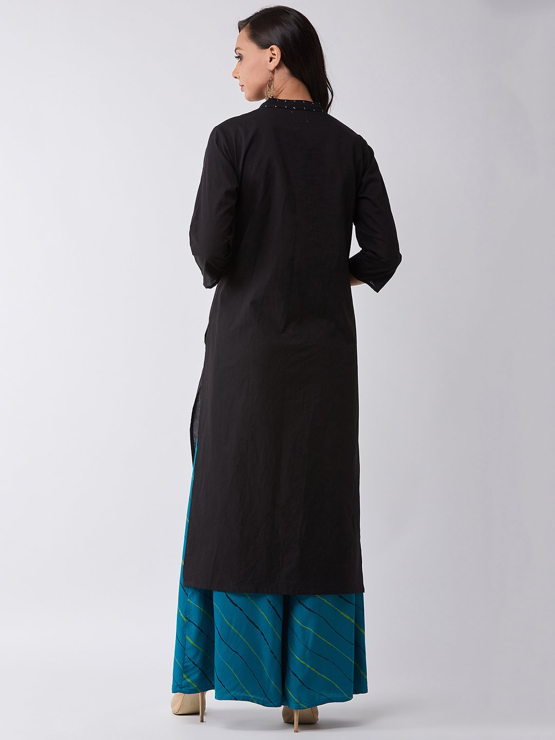 Black Kurta With Blue Sequins Work
