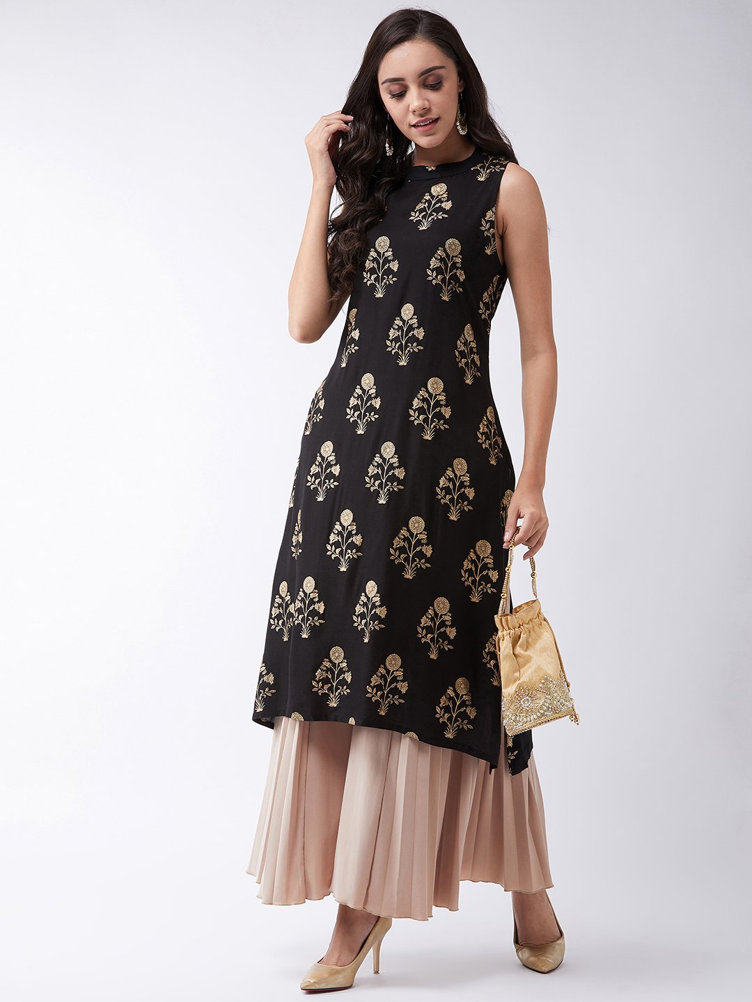 Black Gold Work Halter Kurta