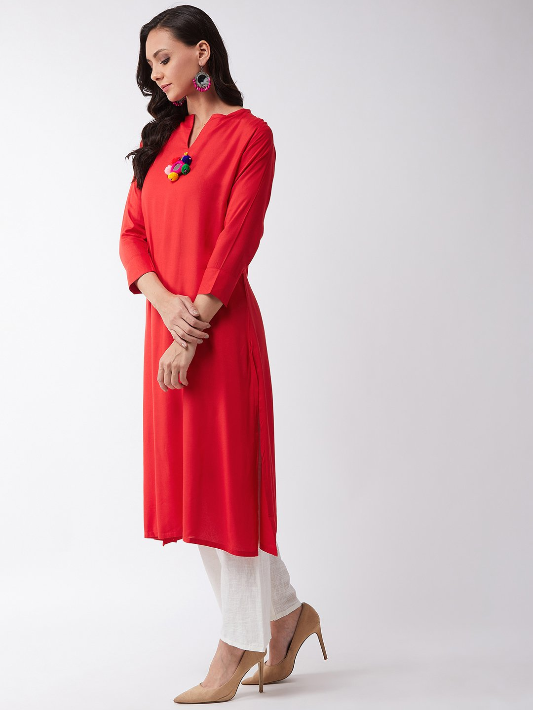 Red Kurta With Mirror Tassel