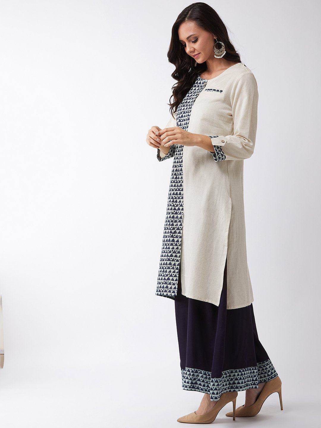 Off White Kantha Print Kurta Set