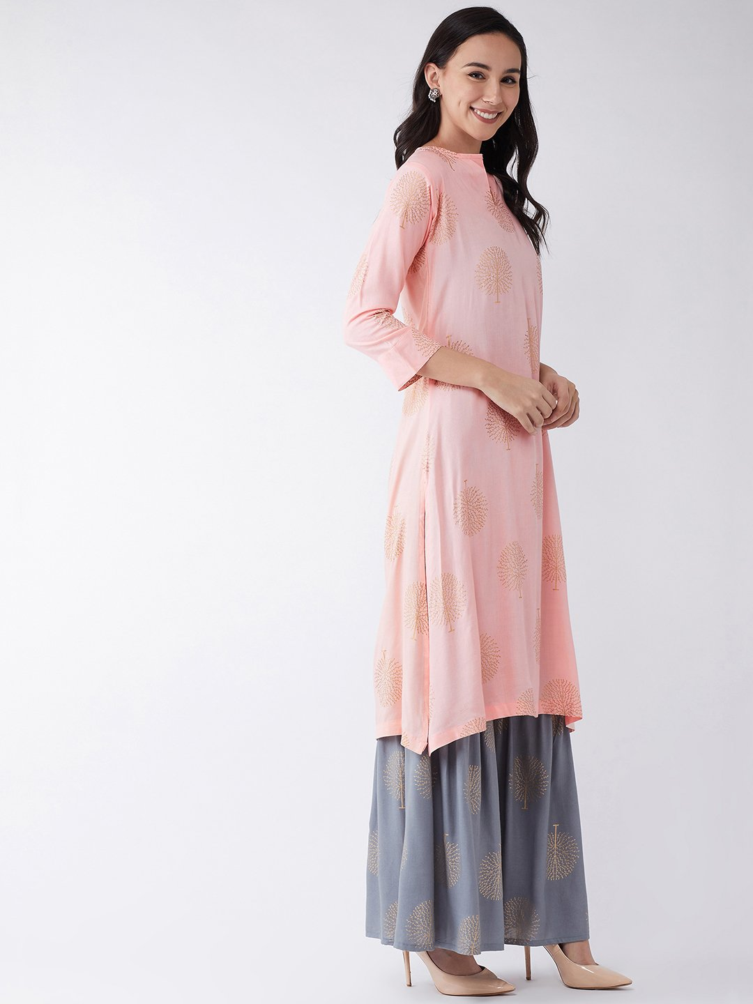 Peach Kurta with Gold Motifs