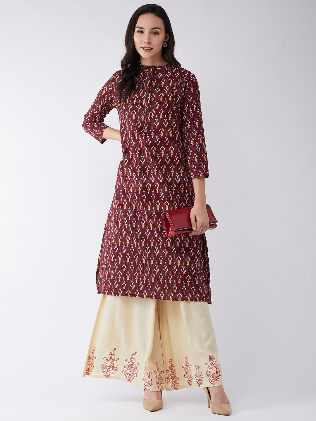 Kurta In Brown Kantha Ikkat